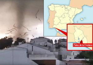 Masivní tornádo ve čtvrtek odpoledne ničilo španělské město Palos de la Frontera. Podle starosty města Carmela Romera živel způsobil jen škody na majetku, nikdo údajně nebyl zraněn.