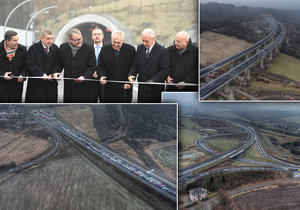 Slavnostní otevření dálnice D8 s bohatou účastí politiků (17. prosinec 2016)