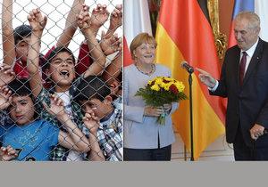 Uprchlický rok 2016: Kritik Zeman a kritizovaná Merkelová v Praze, strádající uprchlíci za ploty