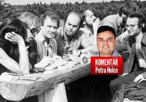 Setkání disidentů v roce 1978. Zleva: Marta Kubišová, Václav Havel, Adam Michnik, Jacek Kuroň. A komentátor Petr Holec.
