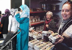 Jana Lejskeová (vpravo) strávila v řeckých uprchlických táborech měsíc. Mimo jiné pomáhala distribuovat jídlo a oblečení pro migranty.