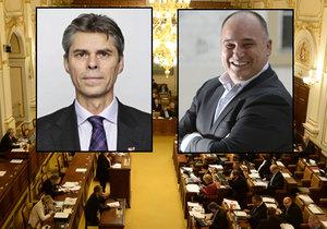 Poslanec Jan Birke (vpravo) se vysmál poslanci Bohuslavu Chalupovi při jednání o tzv. lex Babiš.