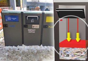 Chytré koše v Praze 17 umí stlačit odpad, díky čemuž se ho do nádoby vejde více.