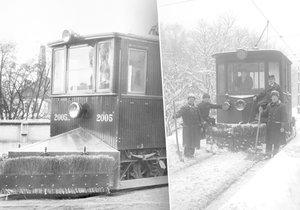 Sněžný pluh z roku 1907 (vlevo) a kolem roku 1929