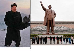 Kim staví na nejvyšší hoře KLDR sousoší vládnoucí dynastie