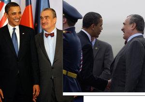 Karel Schwarzenberg s Barackem Obamou v roce 2009 při první návštěvě amerického prezidenta v Praze