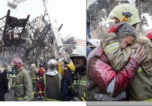 Při požáru v Íránu spadla výšková budova