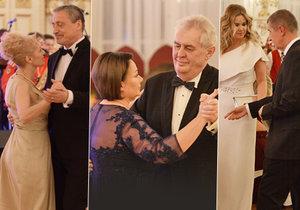 Ples na Hradě: Martin Stropnický s Veronikou Žilkovou, Miloš Zeman s chotí Ivanou a Andrej Babiš s partnerkou Monikou