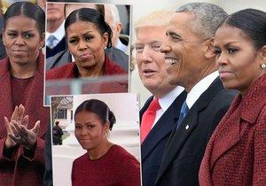 Michelle Obamová se při ceremoniálu očividně nebavila.