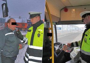 Policie v pondělí brzy ráno zkontrolovala 500 řidičů linkových autobusů na jižní Moravě. Řidiči na snímku při kontrole obstáli.