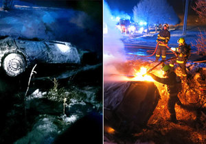 Po cestě do práce zachránil lidský život: Hasič z hořícího auta vytáhl zraněného řidiče.
