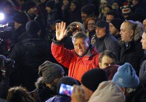 Rumunský prezident Klaus Iohannis při protivládních protestech