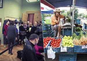 Proti pořádání farmářských trhů městskou částí přišly na radnici protestovat desítky občanů.