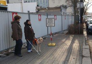 Nevidomé Květě »zabrali« stavaři chodník: Za to nabídli, že jí přecvičí psa