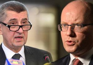 Vicepremiér Andrej Babiš (vlevo, ANO) a premiér Bohuslav Sobotka (ČSSD)