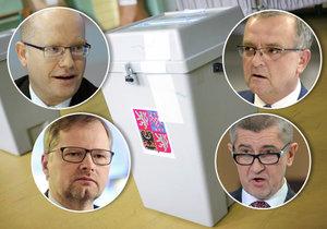 Ve sněmovních volbách se utkají šéfové ČSSD a ODS Bohuslav Sobotka a Petr Fiala (vlevo) i lídři TOP 09 a ANO Miroslav Kalousek a Andrej Babiš (vpravo).