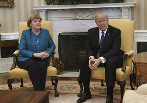 Angela Merkelová a Donald Trump na setkání v Bílém domě