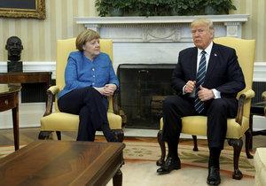 První setkání německé kancléřky Merkelové s novým prezidentem Spojených států Trumpem