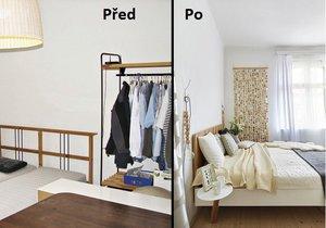 Změna ložnice před a po.