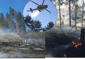 Ohnivé peklo u Macochy: Nebyla voda, hasiči u Macochy tloukli oheň haluzemi