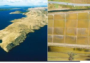 Ostrov Pag je známý svými solnými jezírky.