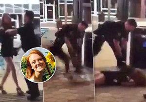 Policista s vysokoškolačkou surově mrskl o zem.