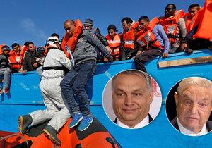 Podle premiéra Orbána financuje miliardář Soror (vpravo) migraci do Evropy.