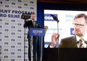 Předseda ODS Petr Fiala hovoří na programové konferenci strany 22. dubna v Praze.