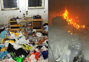 Požár squattu na Žižkově: Škoda žádná, jeden člověk lehce zraněn