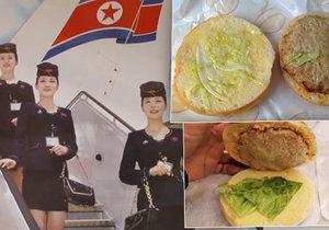Pověstný »burger« podávaný na letech severokorejské aerolinky Air Koryo.