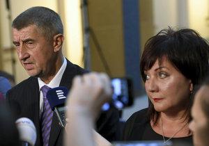 Vicepremiér a ministr financí Andrej Babiš (ANO) a jeho náměstkyně Alena Schillerová