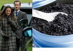Pippa a James budou mít na hostině kaviár za milion korun.
