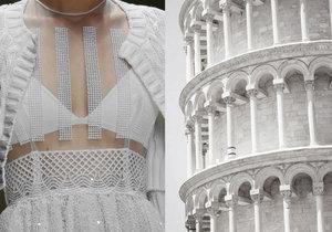Laura Biagiotti jaro 2012. Detail šatů byl inspirován šikmou věží v italské Pise