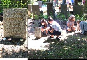 Žáci na dětském hřbitově v Ďáblicích zapalovali svíčky.