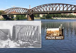 Železniční most mezi Vyšehradem a Smíchovem stojí od roku 1901, jeho předchůdce vznikl v 70. letech 19. století.