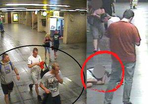 Brutální napadení v metru: Mladíci pěstí srazili cizího muže, pak ho kopli do obličeje