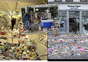 Vyrabované obchody v Hamburku, které vzali útokem odpůrci globalizace