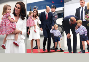 Královská rodina přiletěla do Polska.