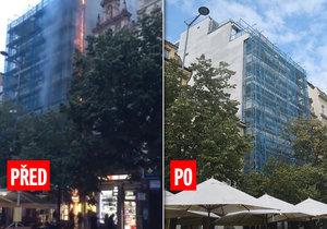 Hotel na Václaváku, který hořel, znovu otevřeli: Hosté se vracejí do svých pokojů