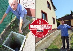 Panu Kuželovi začala po padesáti letech vadit kanalizační přípojka na jeho pozemku.