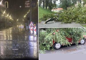 Jih Moravy ničila silná bouřka, která vyvracela stromy a lámala větve. Hasiči měli nahlášený nový případ co deset vteřin.