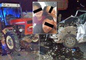 Při nehodě traktoru s osobním autem byly vážně zraněné i dvě malé holčičky.