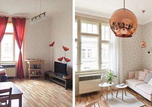 Obývací pokoj před a po proměně.