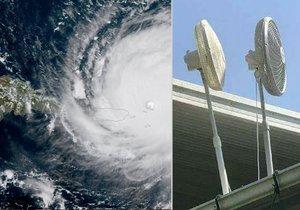Američané se snaží odvát hurikán Irma větráky.