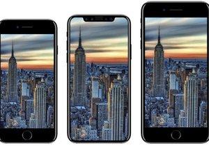 Zleva: iPhone 8, iPhone X a iPhone 8 Plus