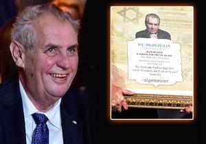 Prezident Zeman převzal v New Yorku cenu Bojovníka za pravdu