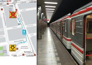 Od pondělí 25. září je uzavřen vstup do metra Anděl ze směru od obchodního centra.