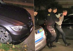 Řidič ujel od benzinky bez zaplacení a naboural několik aut.