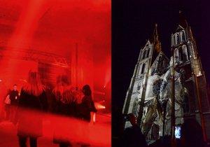 Tlačenice a dlouhé fronty. Tisíce lidí vyrazily na světelnou show Signal festivalu