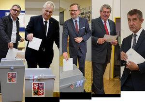 Volby 2017: Zleva Lubomír Zaorálek (ČSSD), Miloš Zeman, Petr Fiala (ODS), Vojtěch Filip (KSČM) a Andrej Babiš (ANO)
